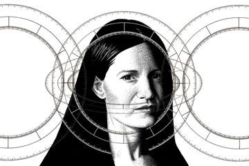 black and white illustration with woman appearig behind three circles.