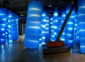 a display of cylindrical lights