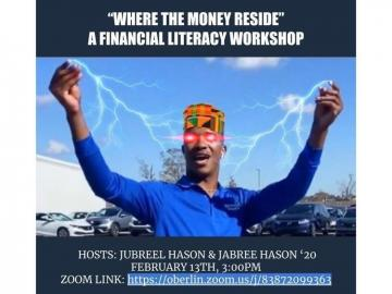 "picture of man from ""where the money reside"" fame and name, date, time, and zoom information for the workshop and hosts names"