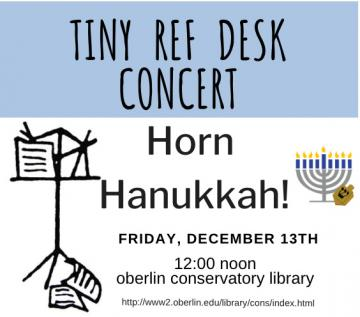 blue and white poster advertising Tiny Reference Desk Concert in conservatory libary.