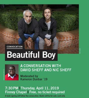 Convocation poster advertising Beautiful Boy, a film.