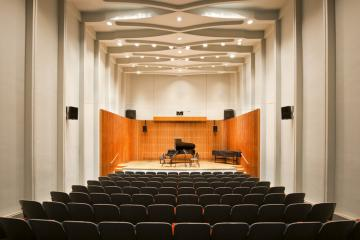 Kulas Recital Hall stage with piano and harpsichord on stage