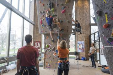 Students on climbing wall