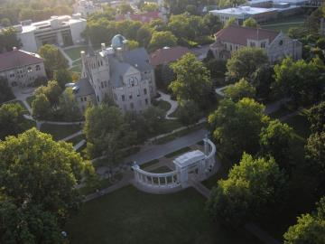 Aerial view of Oberlin College campus