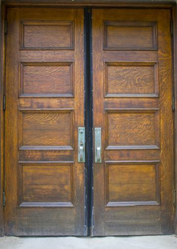 Wooden double doors.