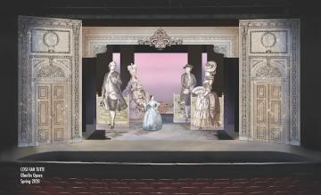A rendering of a set design with large ornate doors and large figures of a Victorian dressed man and woman.