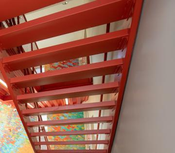 Red metal staircase.