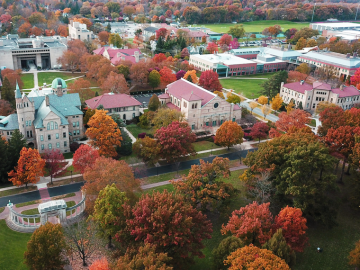 Aerial view of the Oberlin College campus in fall.