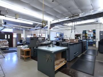 view of various printing machinery