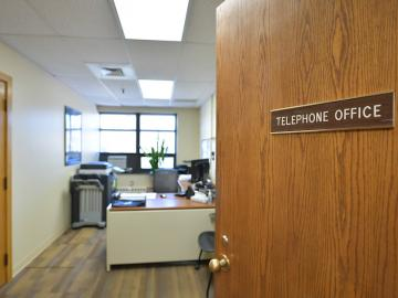 Interior view of the telephone office.