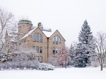 Peters Hall in the winter time