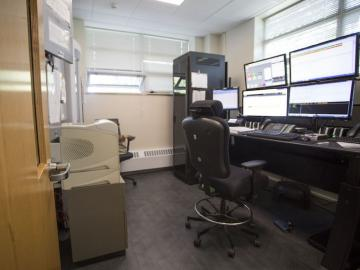 interior office of campus safety with computer monitors.