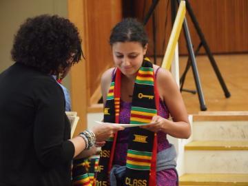 Student Receiving Graduation Stole