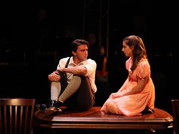Shane Lonergan as Melchior, Amy Weintraub as Wendla in Spring Awakening, Book and Lyrics by Steven Sater, Music by Duncan Sheik, Directed by Chris Flaharty, Hall Auditorium, Dec 1-4, 2016
