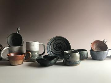 Group shot of Ruth's pottery pieces