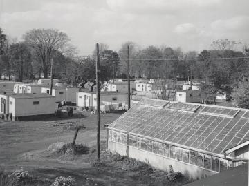 black and white photo of  trailers on Lorain and Woodland streets.