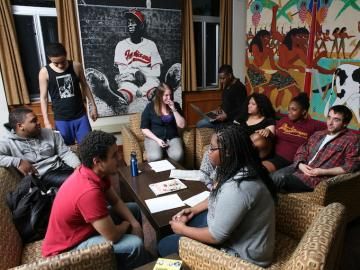 Students meeting in the lobby of Afrikan Heritage House.
