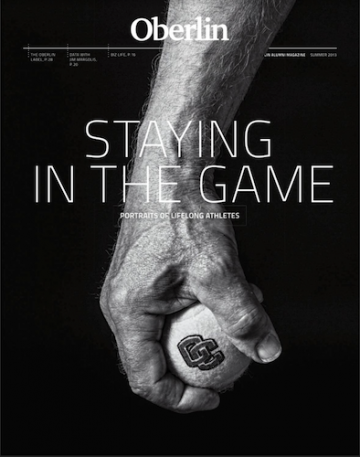 A magazine cover with a hand gripping a tennis ball.