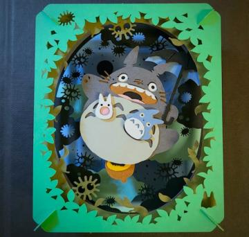 """An up-close shot of the """"My Neighbor Totoro"""" paper theater."""