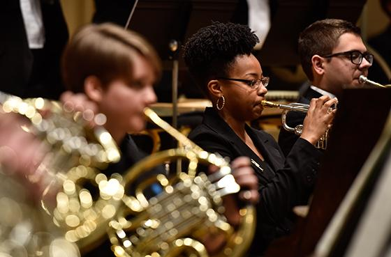 Close-up of brass players