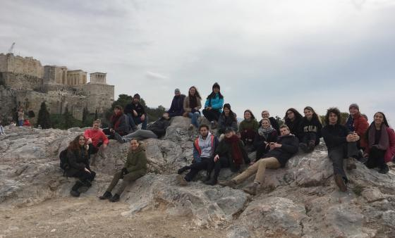 group of students in Greece