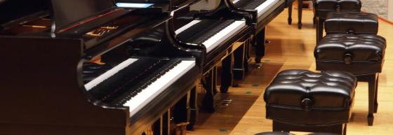Grand pianos in Warner Concert Hall