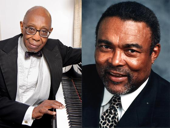 side-by-side portraits of George Walker, sitting at the piano, and Wendell Logan