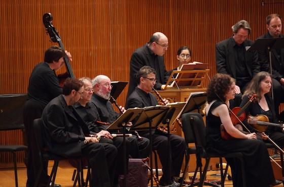 students perform on baroque instruments