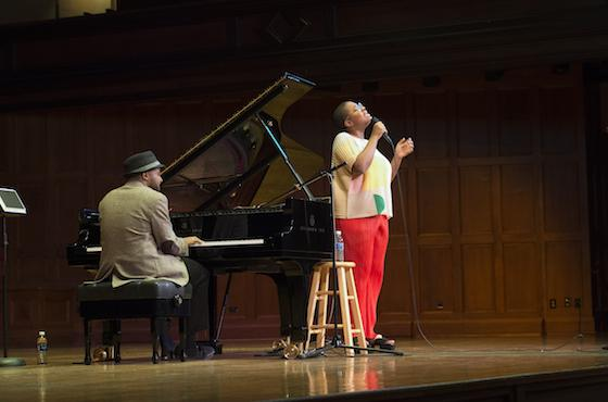 pianist Sullivan Fortner '08 accompanies vocalist Cécile McLorin Salvant during a performance in Finney Chapel.
