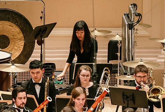 A student percussionist performs with the Oberlin Orchestra on tour at Carnegie Hall.