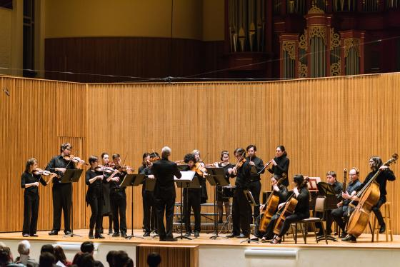 Oberlin Baroque Orchestra performs in Warner Concert Hall.