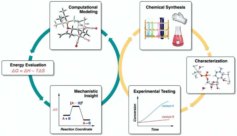 Synergy between computational and experimental chemistry: computational modeling and energetic evaluation leads to mechanistic insight, guiding chemical synthesis of catalysts and reagents with improved efficiency.