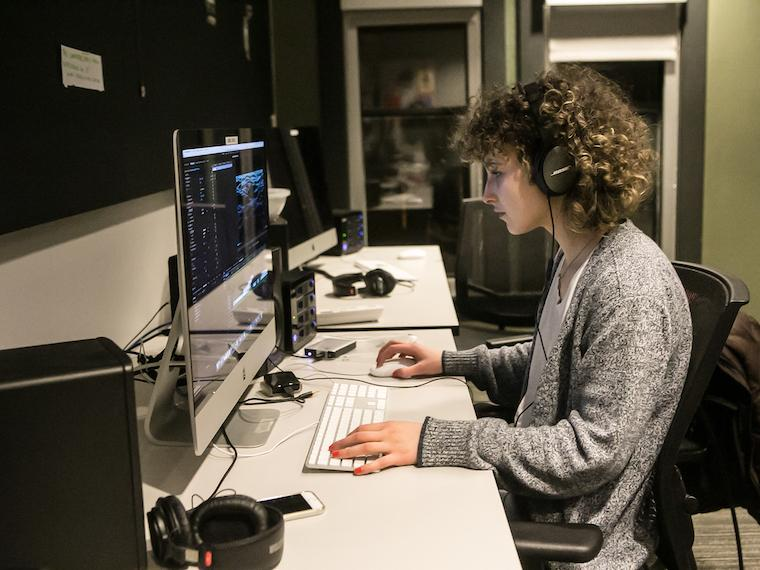 a student works in the editing lab