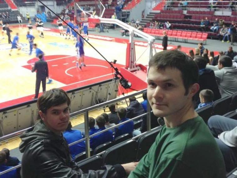 Intern Drew Wise at basketball game in St. Petersburg, Russia