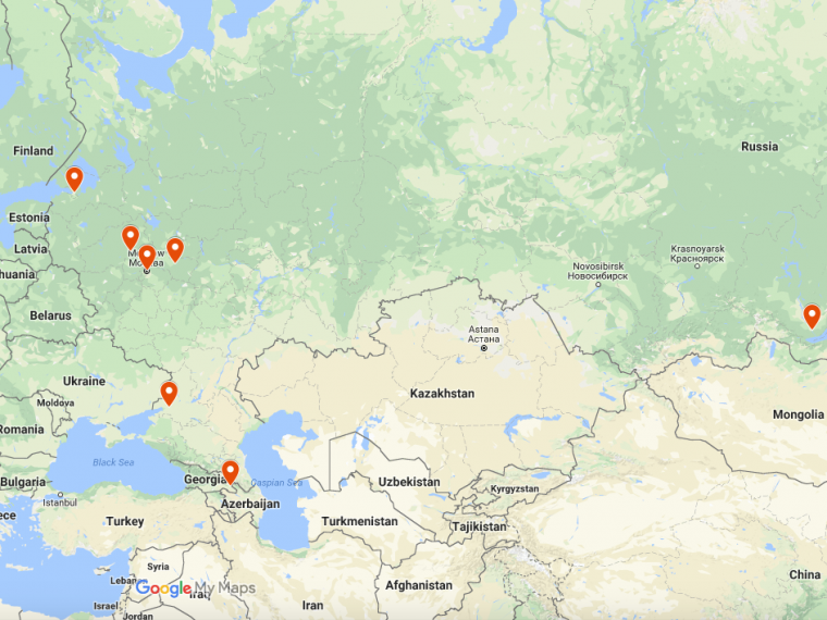 A map of Russia and surrounding countries has a marker for each of the 7 internship locations described on this page.
