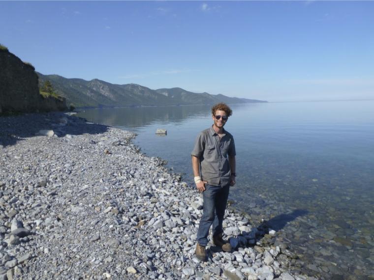 Intern Peter Kutzen at Lake Baikal
