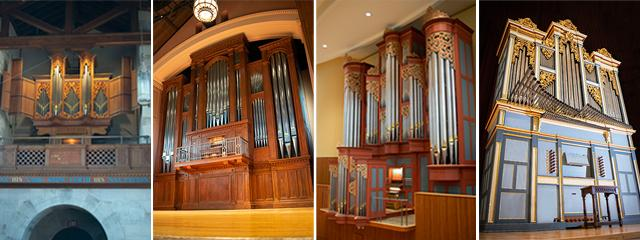 picture of four organs of Oberlin in three different concert spaces on campus