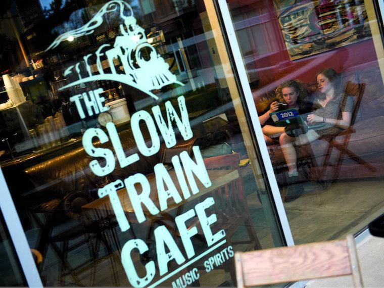 portrait of Slow Train Cafe window