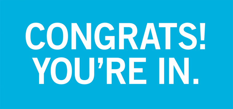 "Large, block-style text says ""Congrats! You're in."""