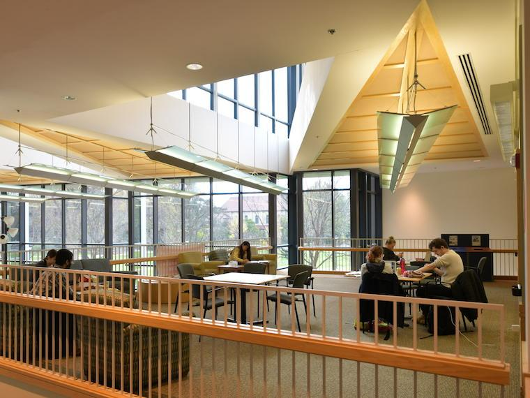 Photograph of students studying in the David Love Lounge located in the Science Center.