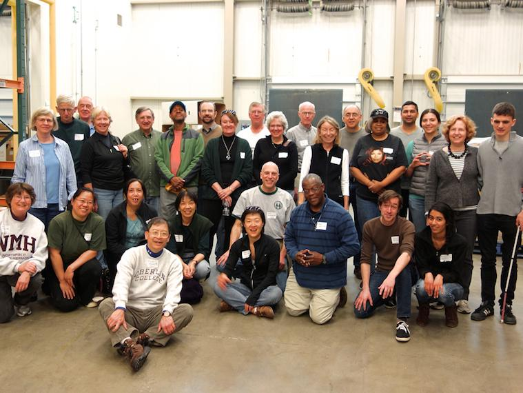 Photo of DC-based Oberlin Alumni attending a Day of Service at a food bank.