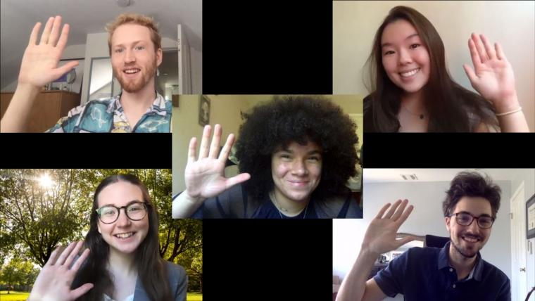 a group of five students waving hello in a Zoom meeting
