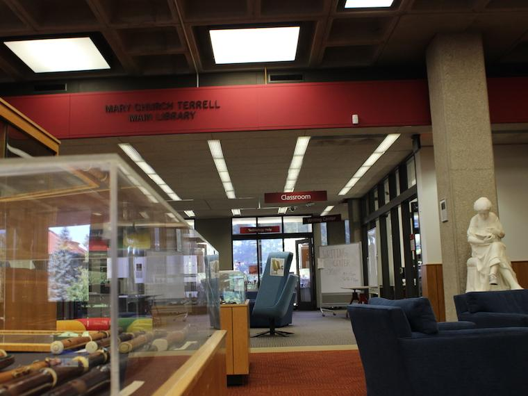 lobby area of Oberlin's main campus library