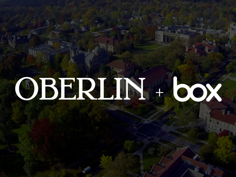 Aerial photo of Oberlin College overlaid with Oberlin logo and Box.com logo