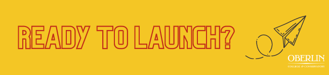 Red text, gray paper airplane, and white Oberlin logo over a yellow background. Text reads: Ready to launch?