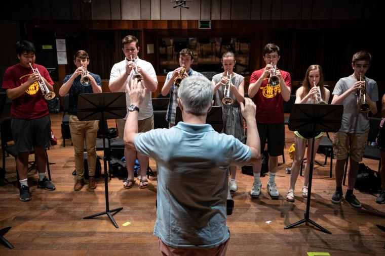 Group of students in summer trumpet workshop.
