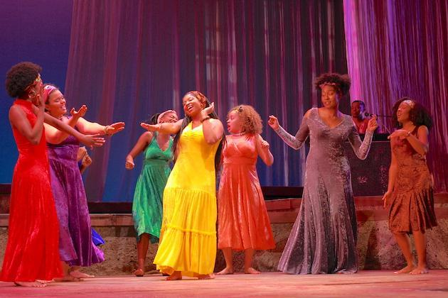The brilliant-hued Ladies move to the rhythms of Ntozake Shange's classic choreopoem for colored girls who have considered suicide / when the rainbow is enuf – 2017.