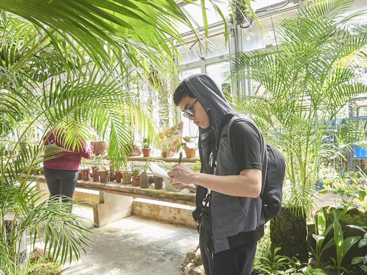 A student in the greenhouse.