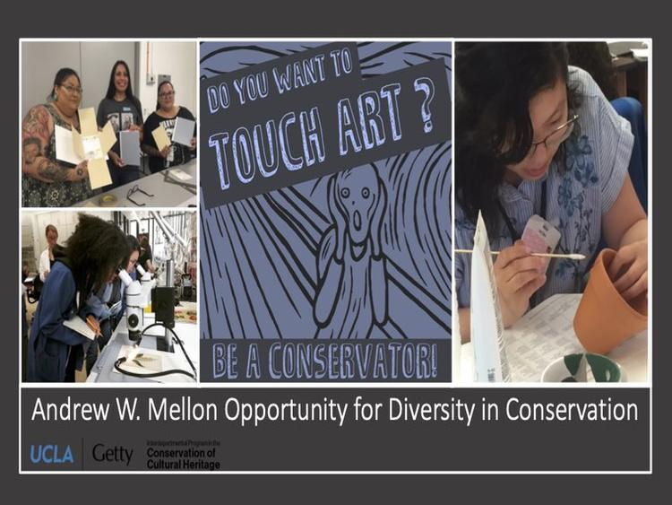 Two photographs of art conservation students in the lab and a sketch of Edvard Munch's The Scream overlaid with the title of the event.