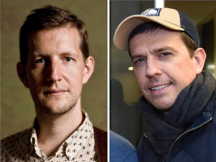 two smiling white men are pictured—Chris Eldridge on the left and Ed Helms on the right